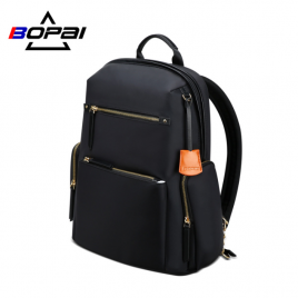 Luxury leather&Microfibre Backpack B0121 Black