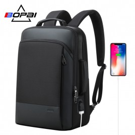 Luxury leather&Microfibre Backpack B07311 Black