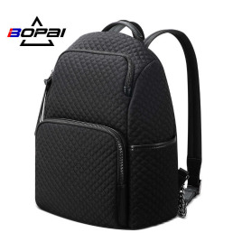 Luxury leather&Microfibre Backpack B20121 Black