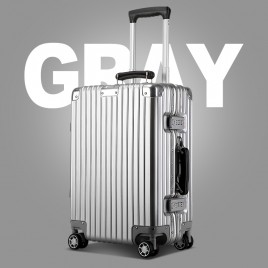 "Luxury 24"" Aluminum frame suitcase B7248 Sliver Grey"