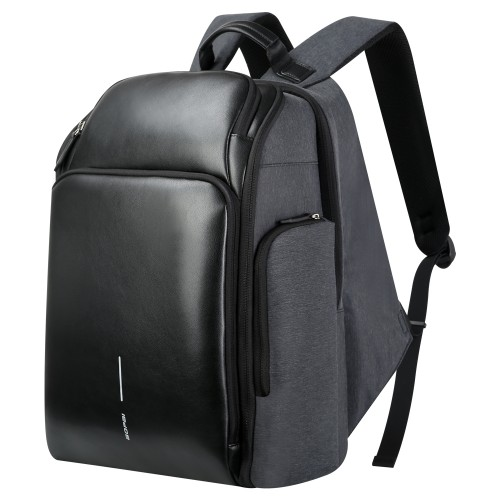 Luxury leather&Microfibre Backpack B0128 Black