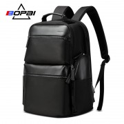 Luxury leather&Microfibre Backpack B0211 Black