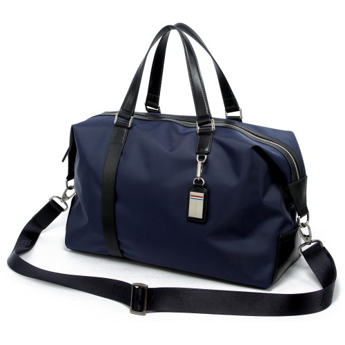 Luxury leather&Microfibre Travel Duffel Bag B1732 Blue