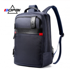 Luxury leather&Microfibre Backpack B3152 Blue