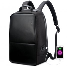 Luxury leather&Microfibre Backpack B4501 Black