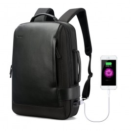 Luxury leather&Microfibre Backpack B6631 Black