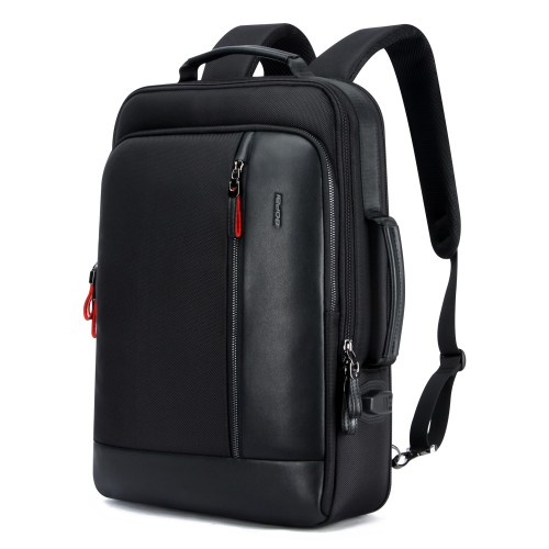 Luxury leather&Microfibre Backpack B6641 Black