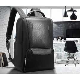 Luxury leather&Microfibre Backpack B7101 Black