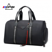 Luxury leather&Microfibre Travel Duffel Bag B7711 Black