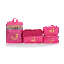 M SQUARE 4 piece set utility Kids lightweight multifunction foldable travel bags (Pink)