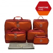 M SQUARE corporate luxury suitcase travel kit bag set (Wine red)