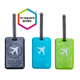 M SQUARE soft pvc travel standard rectangular luggage tag with logo