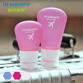 M SQUARE whole set travel makeup toiletry cosmetic silicone bottle (pink/blue/white)