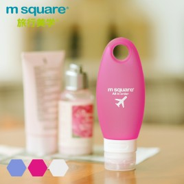 M SQUARE 98ml leakage proof travel silicone squeezable bottle for cosmetic (Blue/Pink/White)