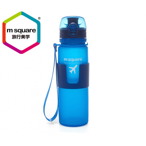 MSQUARE healthy harmless 500ml travel foldable platinum silicone water bottle
