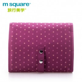 M SQUARE travel large capacity multi-functional makeup wash bag (wave point pink)